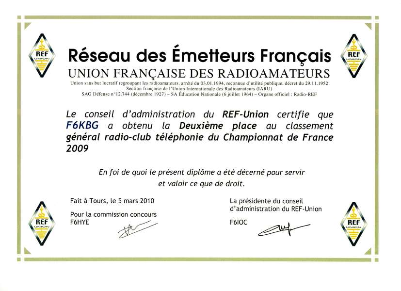2009 F6KBG SSB RADIO CLUB